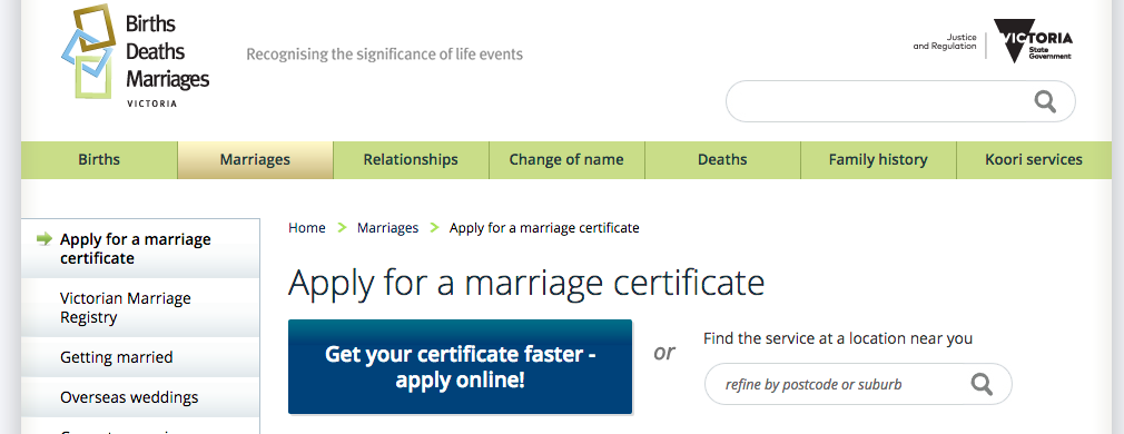 Applying for your victorian marriage certificate sarah aird applying for your victorian marriage certificate yadclub Choice Image