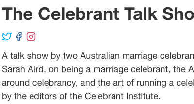 The Celebrant Talk Show: Sarah is pretty riled up