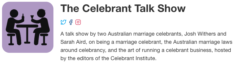 the celebrant talk show podcast logo and description
